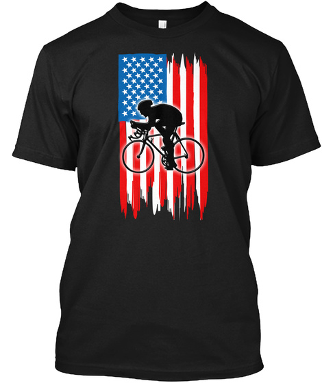 Cycling With American Flag T Shirt Black T-Shirt Front
