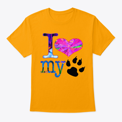 Wordtease Collage Art I Love My Cat Cla Gold T-Shirt Front