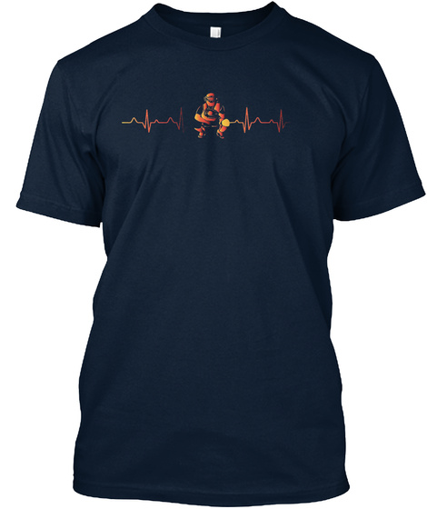 Sport Tshirt Baseball Catcher Heartbeat New Navy T-Shirt Front
