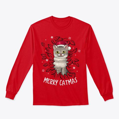 Merry Catmas Christmas Cat Santa Hat Red Camiseta Front