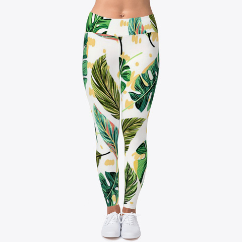 Tropical Bright Palm Leaves Leggings Standard T-Shirt Front