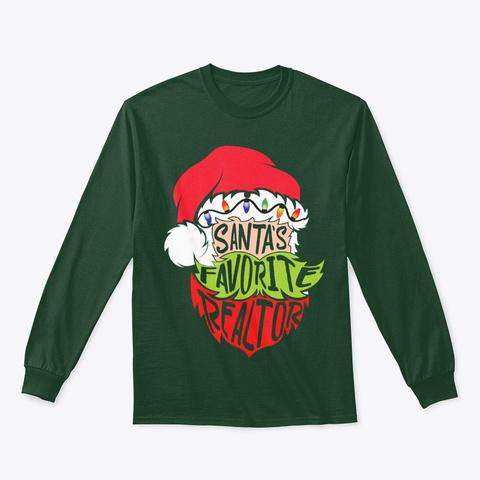 Christmas Santa Estate Agent Broker Tee Forest Green T-Shirt Front