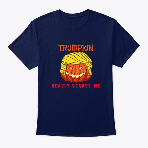 Anti Trump Trumpkin Halloween Navy T-Shirt Front