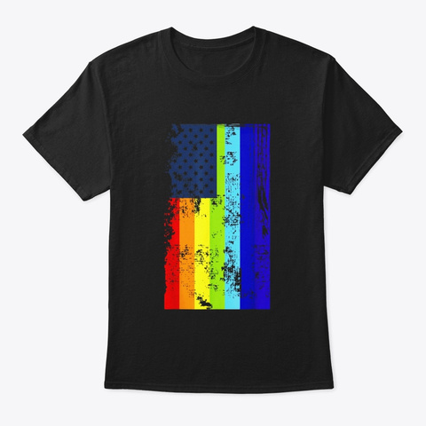 Lgbt Flag Rainbow Shirt With Stars Lgbt Black T-Shirt Front