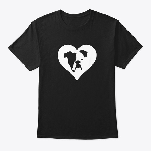 English Bulldog I Love My Heart T Shirt Black T-Shirt Front