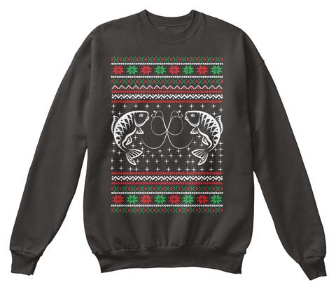 Fish Ugly Christmas Sweater Digital Art  Jet Black T-Shirt Front
