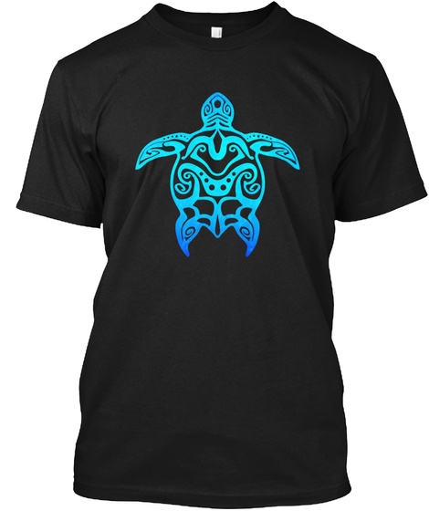 Tribal Ocean Blue Hawaiian Sea Turtle Black T-Shirt Front