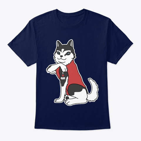 Dog Husky Dog Tattoo I Love Mom Navy T-Shirt Front