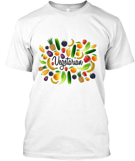 Vegetarian White T-Shirt Front