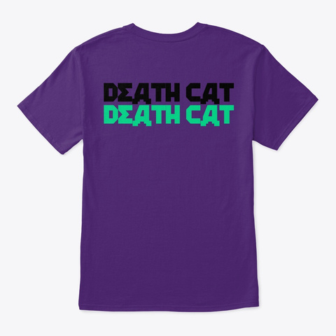 Death Cat Logo Purple T-Shirt Back
