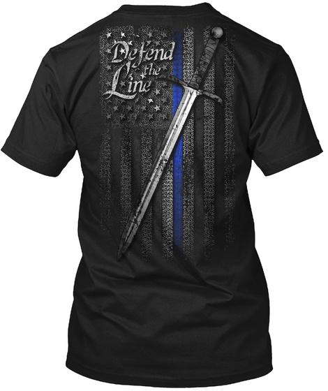 Defend The Line Black T-Shirt Back