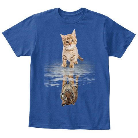 Cat And Tiger! Kids T Shirts! Deep Royal  Kaos Front