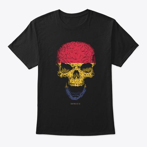 Skull Romania Flag Skeleton Black T-Shirt Front