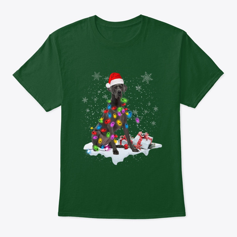 Christmas Lights Great Dane Dog Lover Deep Forest T-Shirt Front