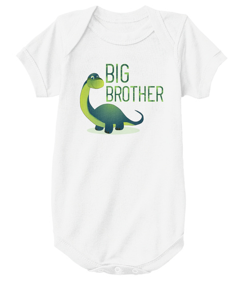 Big Brother Brontosaurus Onesie White T-Shirt Front