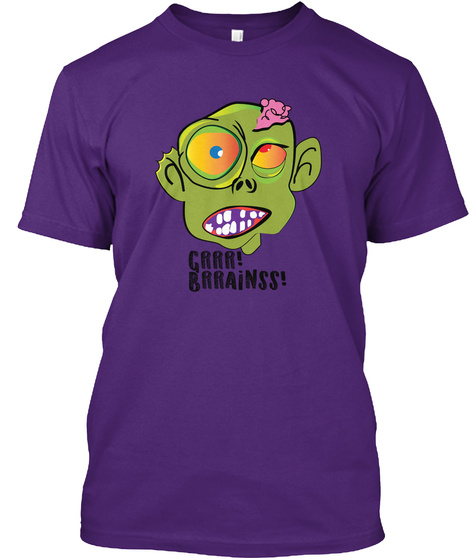Hungry Zombie Purple T-Shirt Front