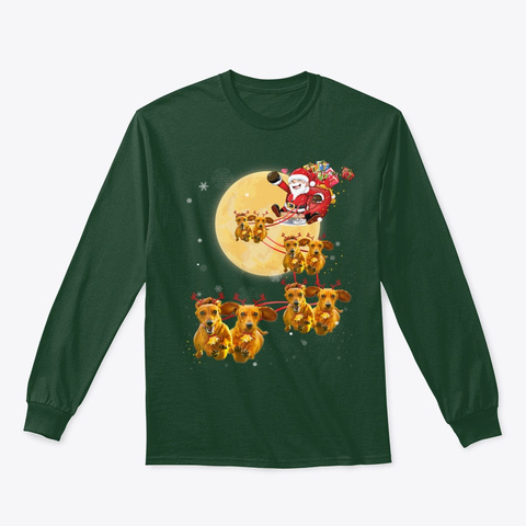 Christmas Reindeer Dachshund Dog Shirts  Forest Green T-Shirt Front