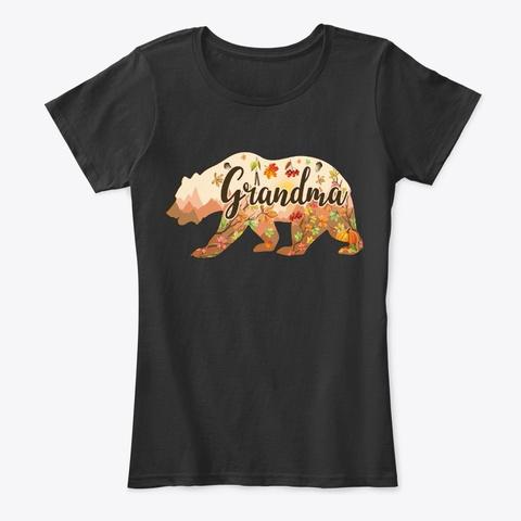 Fall Grandma Bear Gift   Floral Bear Black T-Shirt Front