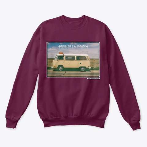 "Crew Neck: ""Going To California"" Maroon  T-Shirt Front"