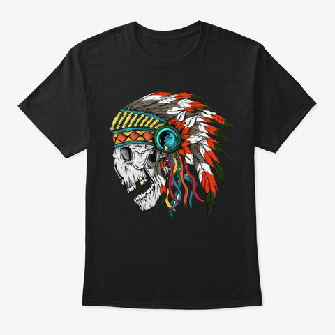 Native American Chief Hat Skull Black T-Shirt Front