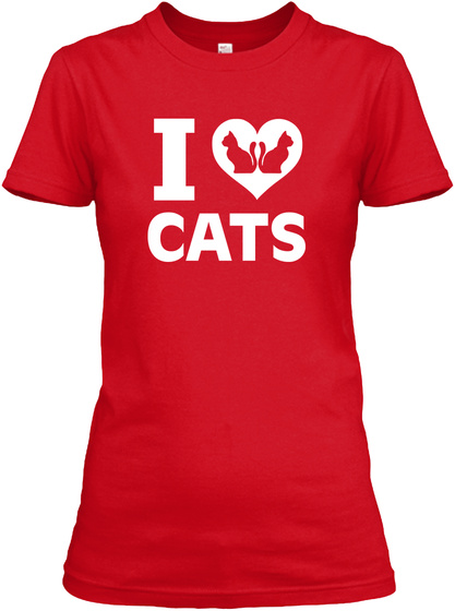 I Love Cats Red T-Shirt Front