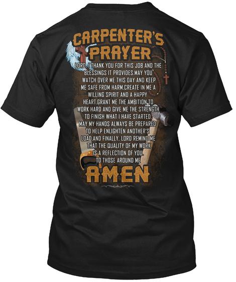 Carpenter's Prayer Amen Black T-Shirt Back