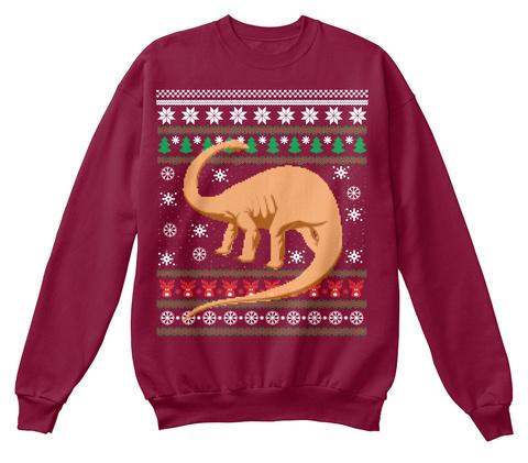 dinosaur ugly christmas sweater tee cardinal sweatshirt front - Ugly Christmas Sweater Dinosaur