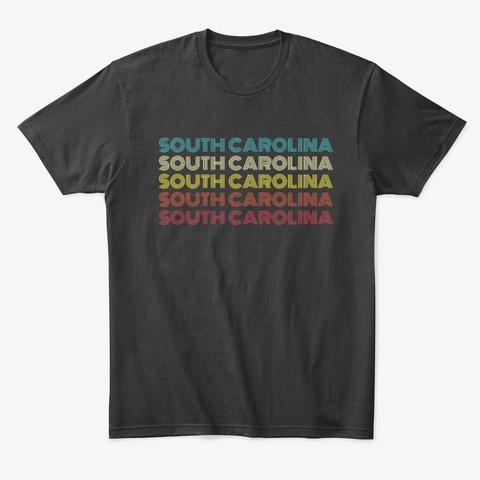 South Carolina Vintage Sunset Pattern Black T-Shirt Front