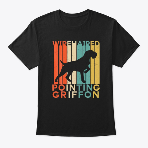 Vintage Wirehaired Pointing Griffon Dog Black T-Shirt Front