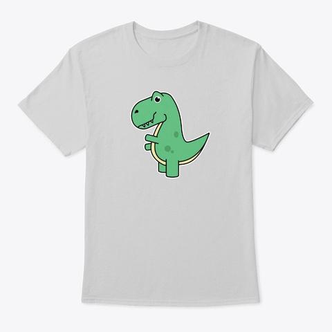 Cute T Rex Green Dinosaur  Light Steel T-Shirt Front