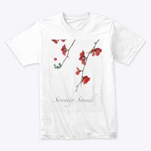 Serenity Sounds Premium Flower Shirt  White T-Shirt Front