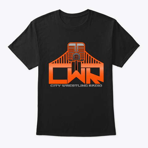 City Wrestling Radio   Logo   Sf Colors Black T-Shirt Front