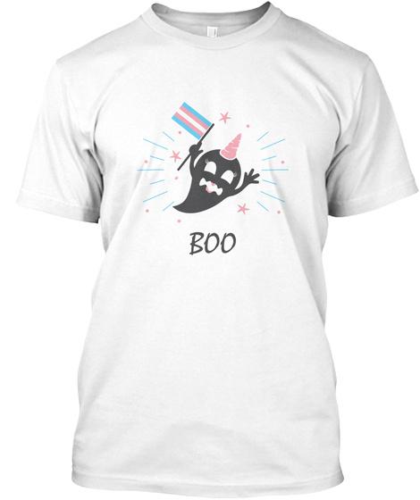 Trans Ghost Transgender Pride Flag White T-Shirt Front