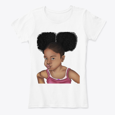 Afro Hairstyle Little Black Princess White T-Shirt Front