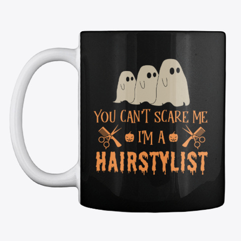 Hairdresser Halloween Mug Black T-Shirt Front