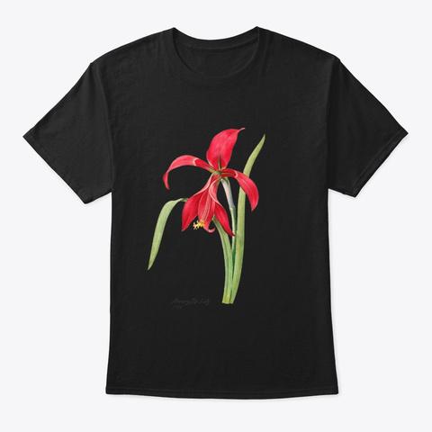 Amaryllis Lily Pierre Joseph Redouté Black T-Shirt Front