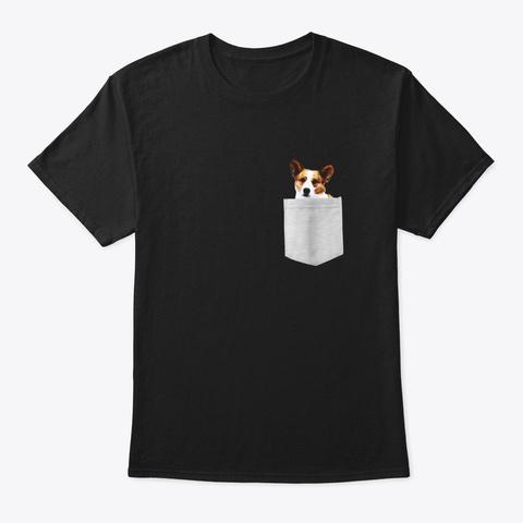 Cardigan Welsh Corgi Dog In Your Pocket Black T-Shirt Front