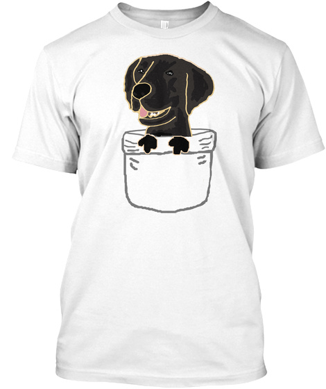 Funny Black Labrador Retriever Dog In A Pocket White T-Shirt Front