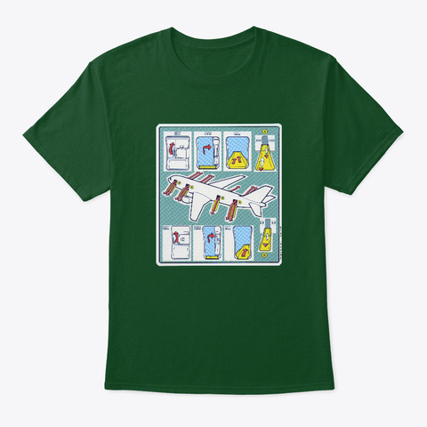 Emergency Safety Aboard Deep Forest T-Shirt Front