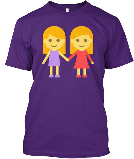 Lesbian Emoji Purple T-Shirt Front