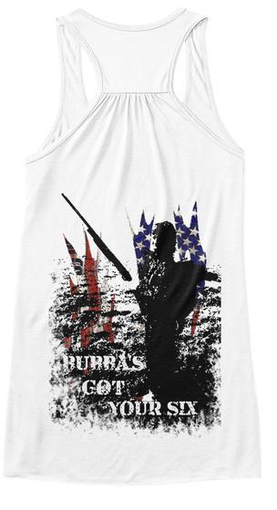 Burras Got Your Six White Women's Tank Top Back