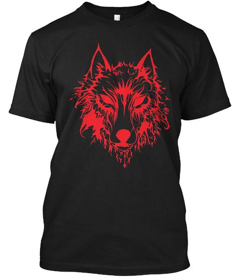 Red Fenrir Wolf Odin Nordic Valhalla Mj Black T-Shirt Front