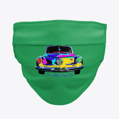 Classic Car Face Mask Green T-Shirt Front