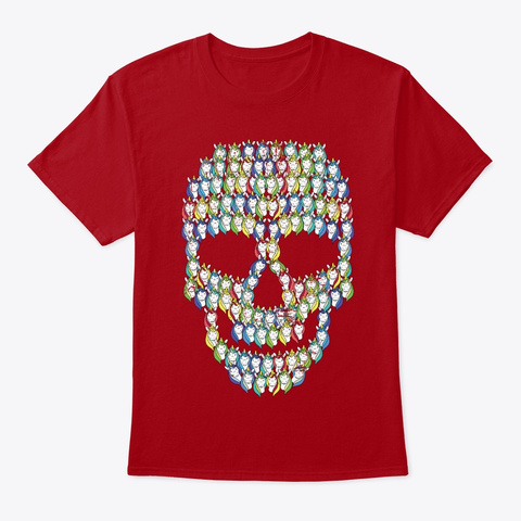 Skull Unicorns | Creepy Rainbow Deep Red T-Shirt Front
