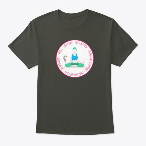 Zen Caffeine Yoga Meditation Smoke Gray T-Shirt Front