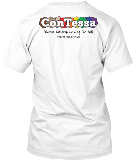 Contessa Diverse Tabletop Gaming For All Contessa.Rocks White T-Shirt Back