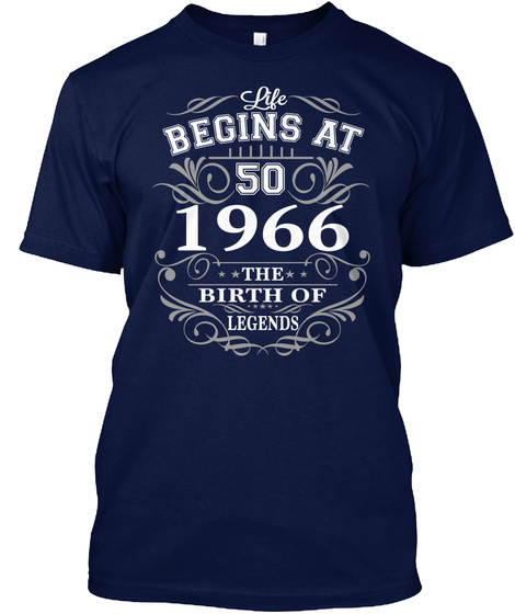 Life Begins At 50 1996 The Birth Of Legends Navy T-Shirt Front