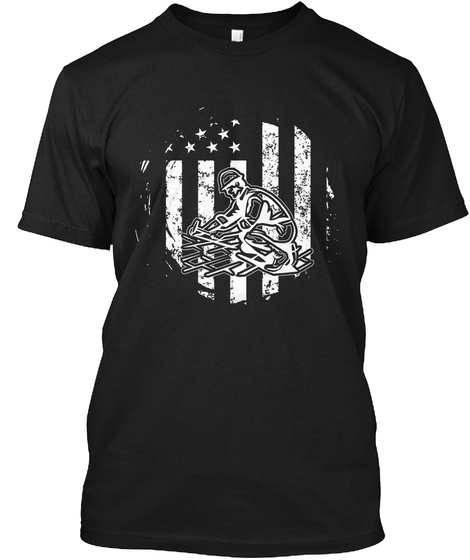 American Roofer Awesome T Shirt Gift Black T-Shirt Front