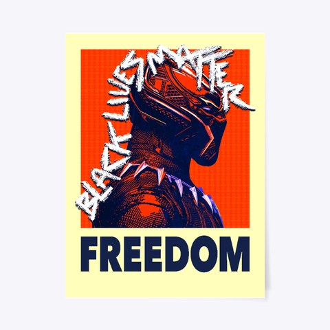 Black Panther Freedom Poster White T-Shirt Front
