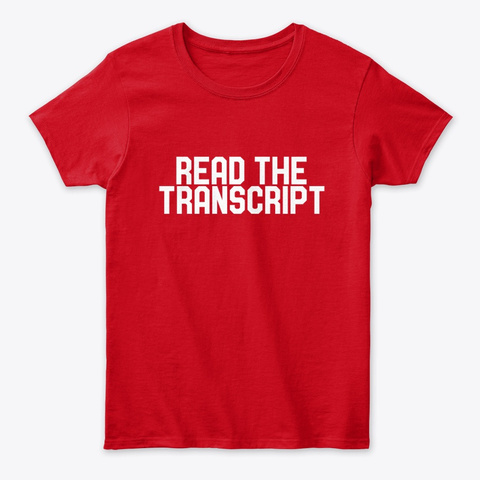 Read The Transcripts  Red T-Shirt Front